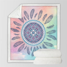Front view of Bohemian Manadal and Dreamcatcher Design Fusion Sherpa Fleece Blanket
