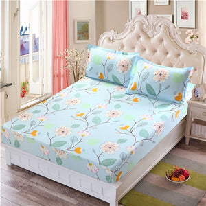 Sky Blue Colored Floral Fitted Bed Sheet With Matching Pillowcases Applied on a Queen Mattress