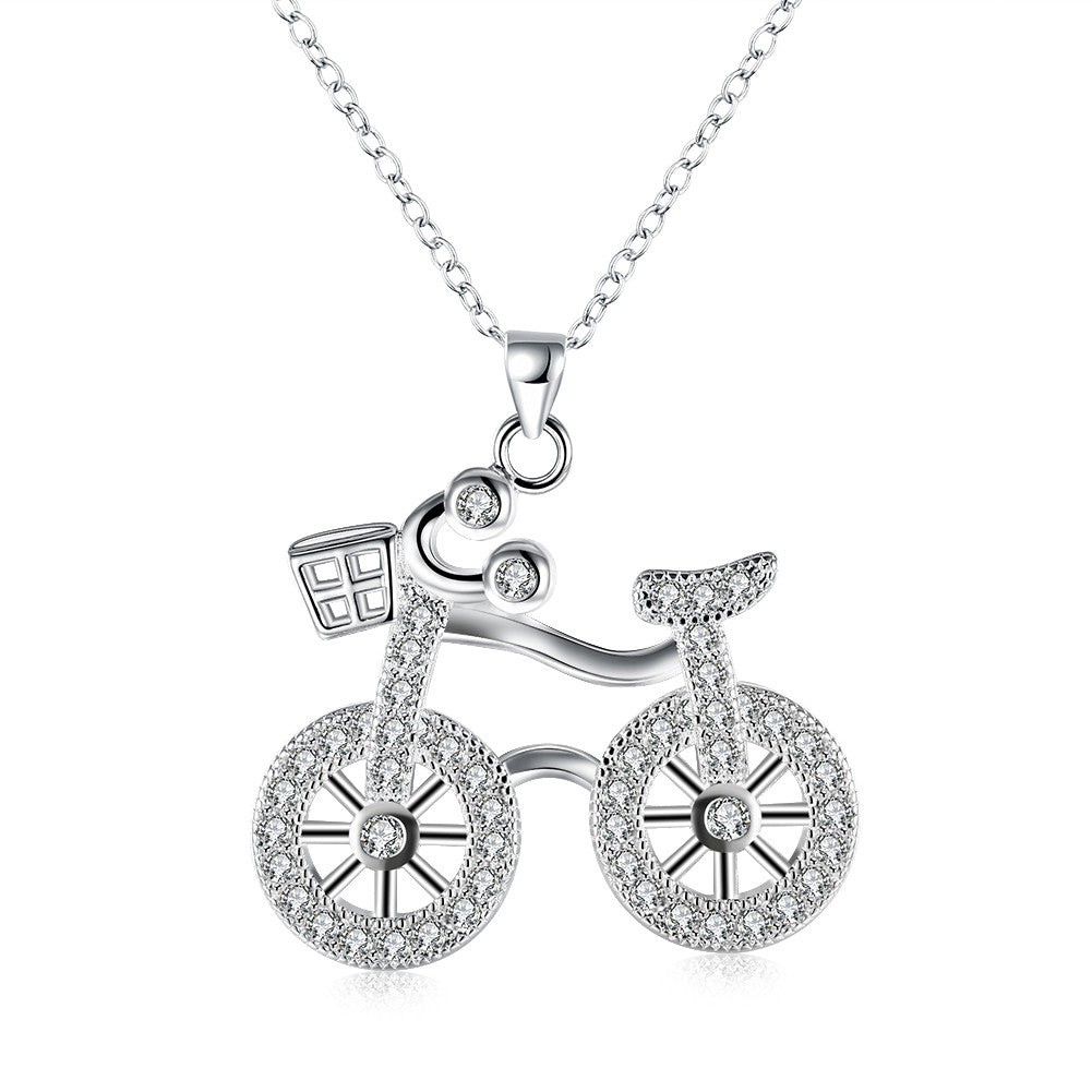 White Gold-Plated Bicycle Pendant Necklace Product Display