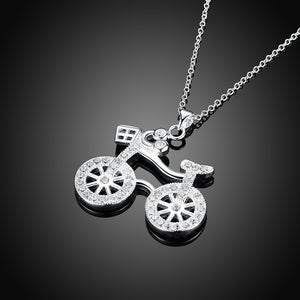White Gold-Plated Bicycle Pendant Necklace Product Display on a black background