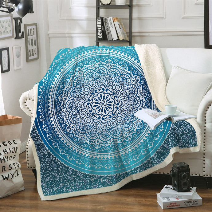 Bohemian Round Mandala Sherpa Throw Fleece Throw Blanket - Full / Twin