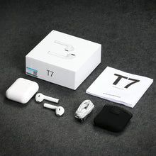 white langsdom wireless headphones shown with packaging box and included items