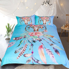 Bohemian Floral Feathers Duvet Cover with Pillowcases