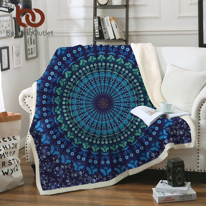 Quad Bohemian Round Mandala Sherpa Fleece Throw Blanket