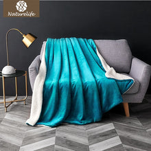 Double Layer Soft Solid Color Sherpa Throw Blanket