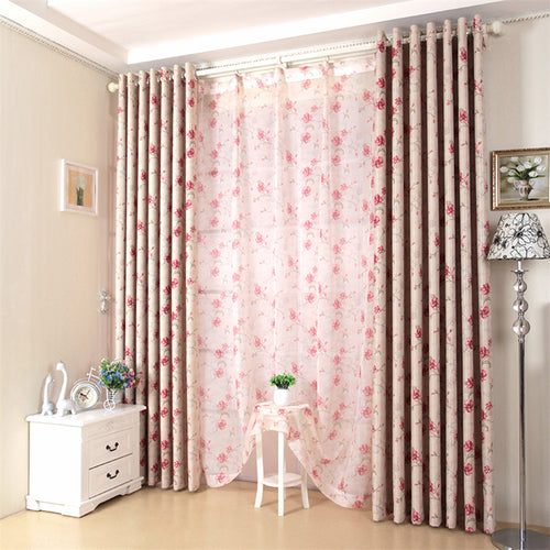 Pastoral Pink Floral Window and Door Curtains