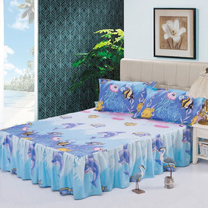 Beautiful Tropical Bed Sheet Skirt Set With Pillow Shams