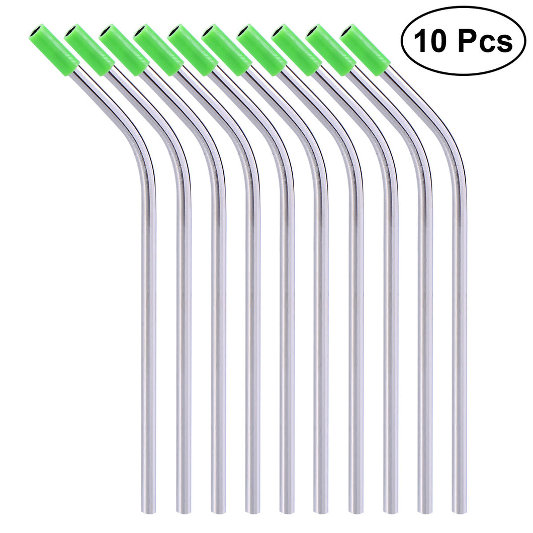 10 Pcs Stainless Steel Straws with Silicone Tips
