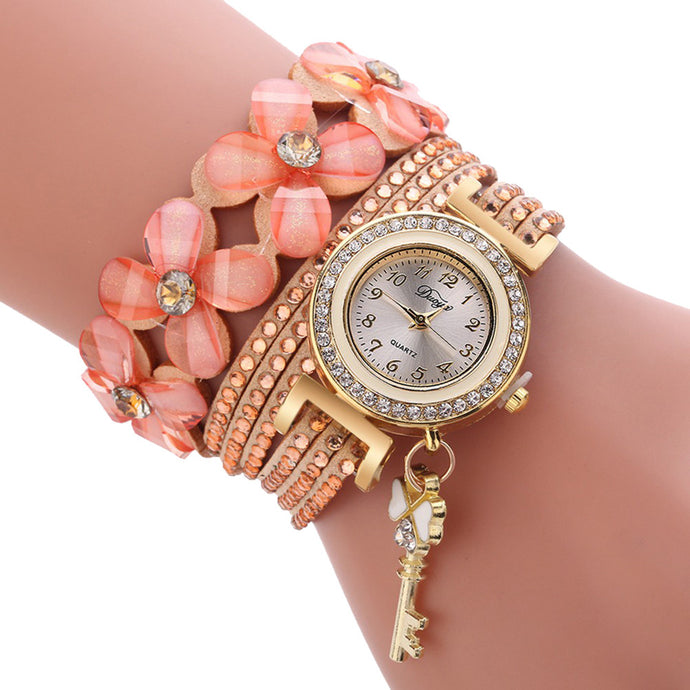 Women Bracelet Fashion Luxury Gold Key Pendant Crystal Quartz Watch