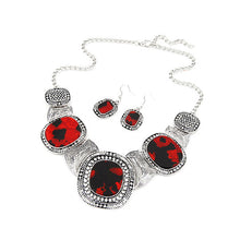 Red rhinestone necklace with 3 large stones and 2 hook earrings