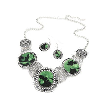 Green rhinestone necklace with 3 large stones and 2 hook earrings