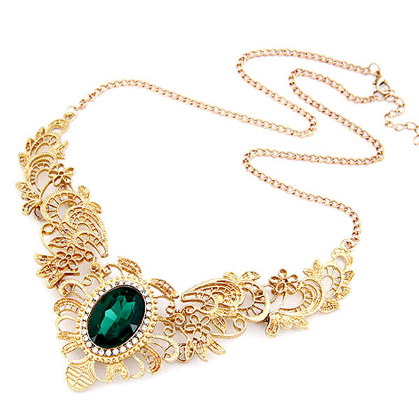 Green Emerald Statement Necklace