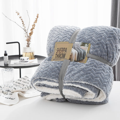 Self Pattern Solid Super Soft Sherpa Fleece Throw Blankets