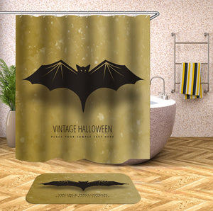 Flying Bat Golden Halloween Shower Curtain