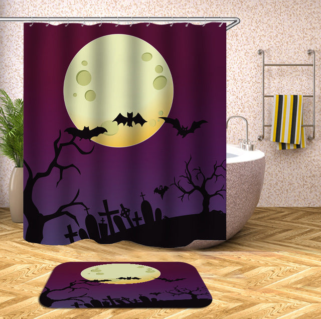 Purple Graveyard and Full Moon Halloween Shower Curtain