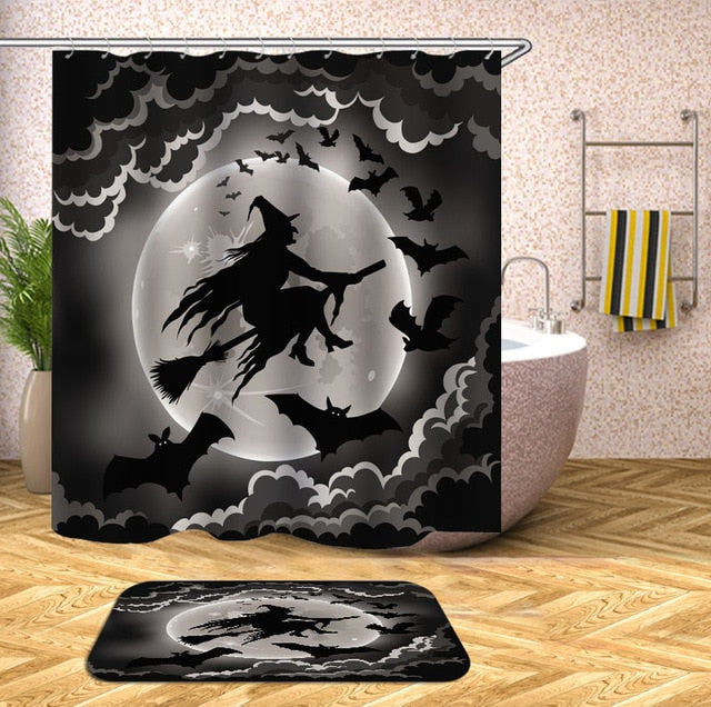Flying Witch Halloween Shower Curtain