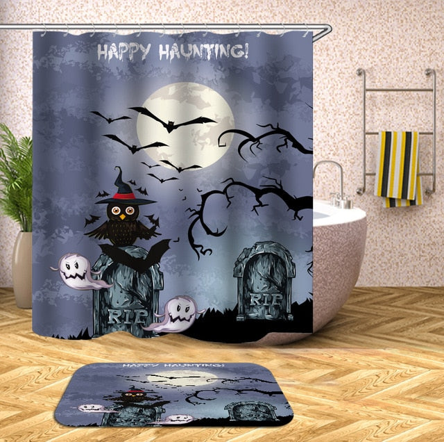 Scary Graveyard Night Halloween Shower Curtain