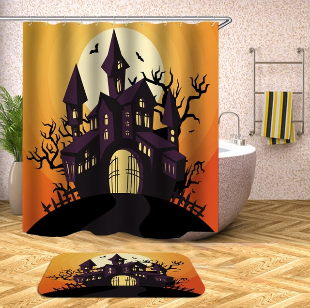 Haunted House Halloween Shower Curtain