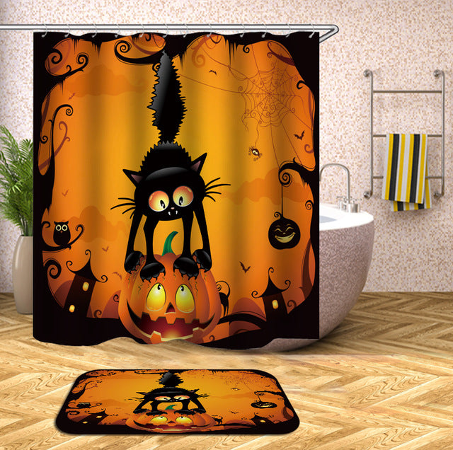 Cartoon Pumpkin and Cat Halloween Shower Curtain