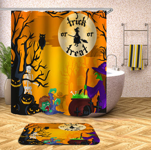 Witch and Zombie Halloween Shower Curtain