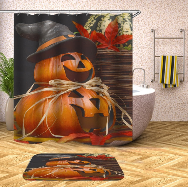 Orange Pumpkin Heads Halloween Shower Curtain