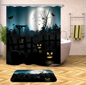 Scary Full Moon Night Halloween Shower Curtain