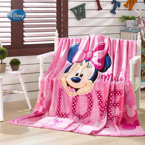 Plush Pink Minnie Mouse Queen Twin or Full size Blanket Displayed on a White Armed Chair