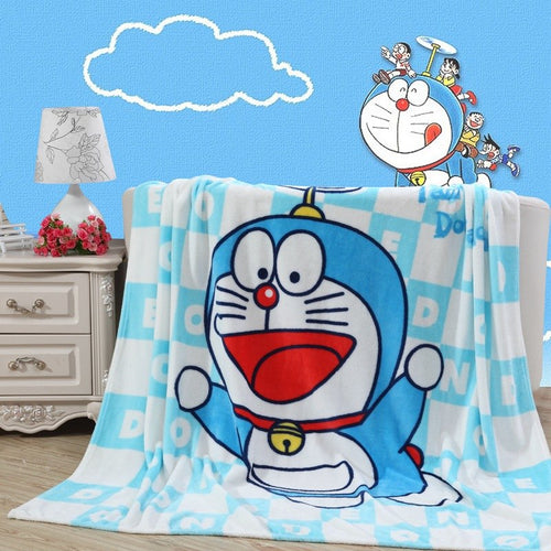 Sky Blue Doraemon Plush Flannel Blanket