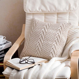 beige knitted throw pillow cover