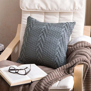 Grey knitted throw pillow cover
