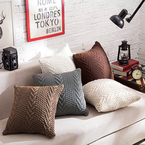 Solid Knitted Throw Pillow Cover with inserts shown on sofa - 2