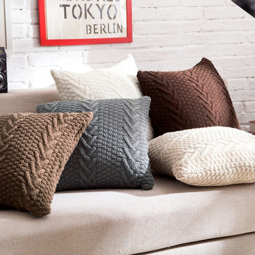 Solid Knitted Throw Pillow Cover with inserts shown on sofa - 1
