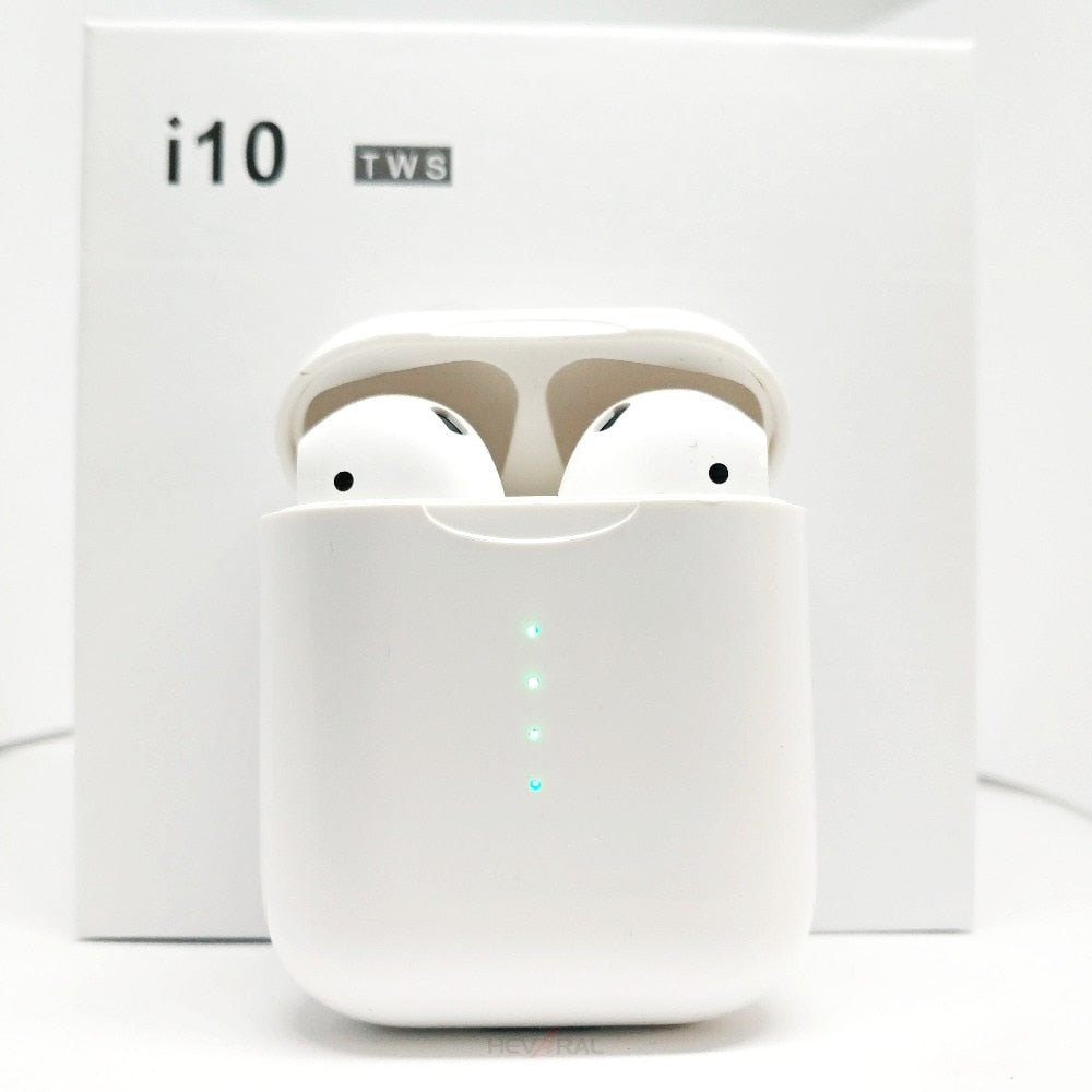 Cropped Zoomed View of I10 TWS EarPods that look like AirPods