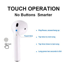 Back of I10 TWS EarPods that look like AirPods showing touch control specifications