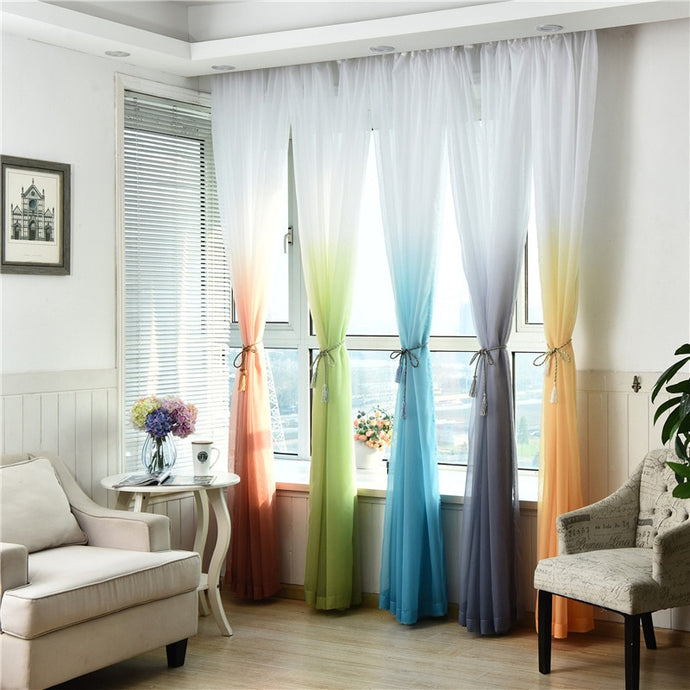 Dual Shade Pastel Color Curtains, Tulle, Shear