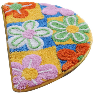 Decorative Semicircle Multi-color Floral Non-slip Floor Rug for Kids Room