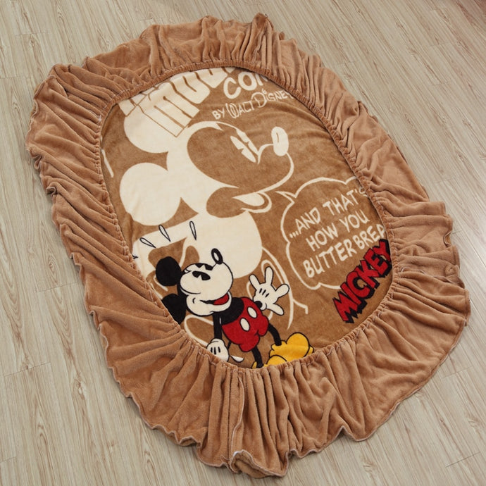 Mickey Mouse Themed Brown Fitted Flannel Sheet