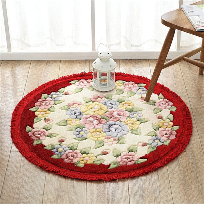 Decorative Pastoral Floral Round Rugs