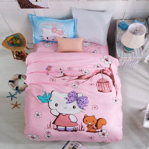 Hello Kitty Bed Set Duvet Cover for Kids Room | Cotton | Twin