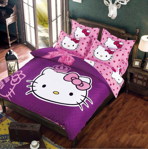 Hello Kitty Duvet Cover, Bed Sheet and Pillowcase Set