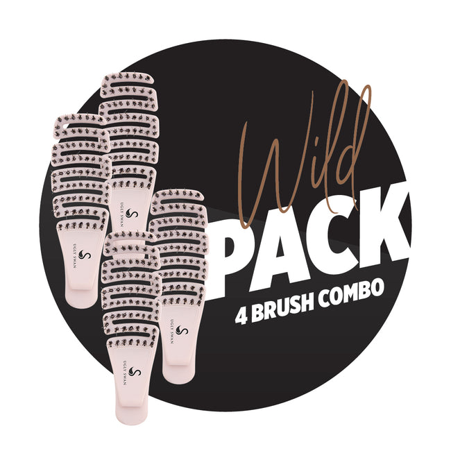 Scream-Free Hair Brush Palm Flexi WILD 4 Pack
