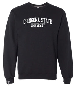 Chingona State Crewneck Sweatshirt-Black/White