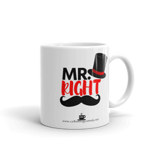 11 oz White Ceramic Mr.Right Coffee Mug