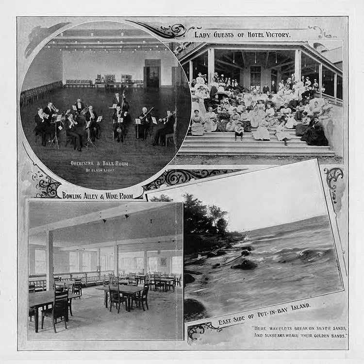 Orchestra & Ball Room. Lady Guests of Hotel Victory. Bowling Alley & Wine Room. East Side of Put-in-Bay Island.