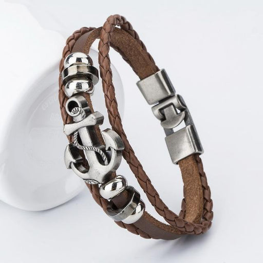 Handmade Leather Anchor Bracelet - TurninGEAR