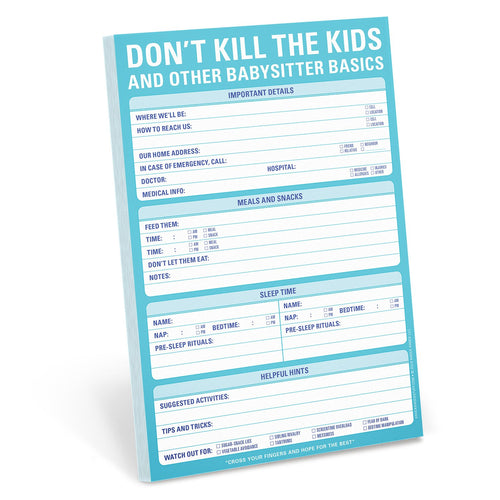 Don't Kill The Kids Babysitter Note Pad-Knock Knock-Shop Anchored Bliss Women's Boutique Clothing Store