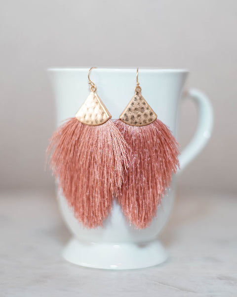 Fall For You Fringe Earrings • Blush-Bosuk Corp.-Shop Anchored Bliss Women's Boutique Clothing Store