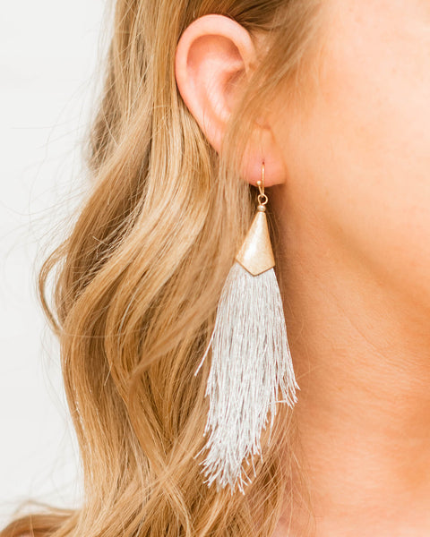 Mariah Fringe Earring Grey-JOIA-Shop Anchored Bliss Women's Boutique Clothing Store