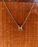 Silver Initial Necklace-Anchored Bliss -H-Shop Anchored Bliss Women's Boutique Clothing Store