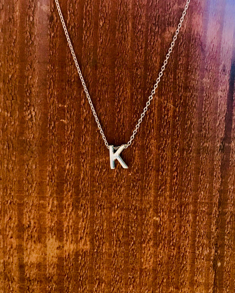 Silver Initial Necklace-Anchored Bliss -K-Shop Anchored Bliss Women's Boutique Clothing Store